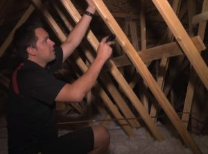 Bradford Home Inspections checking the attic