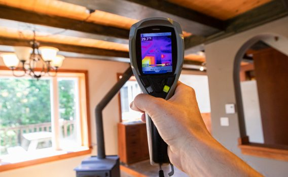 Bradford home inspector using infrared thermal vision for cold spots in home